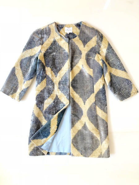 Silk Velvet Ikat Coat - Blue/Sand