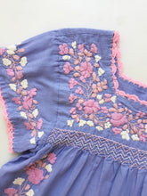 Oaxaca - Cap Sleeve (Periwinkle with Multi Pink )