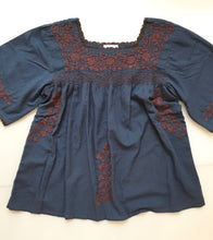 Oaxaca - Bell Sleeve L/XL (Blue with Brown)