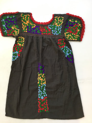 Oaxaca Dress - Split Sleeve (Brown with Multi)