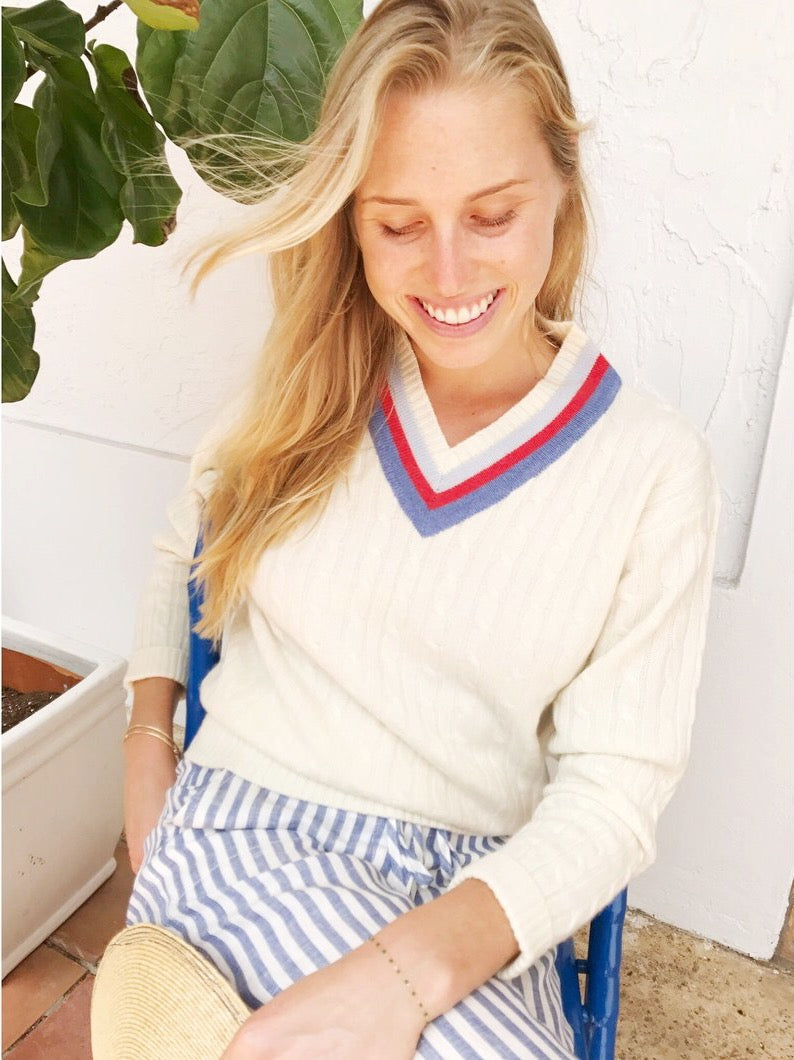 IVORY TENNIS SWEATER - WHOLESALE