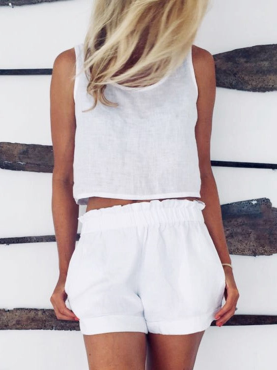Thea Crop Top - White