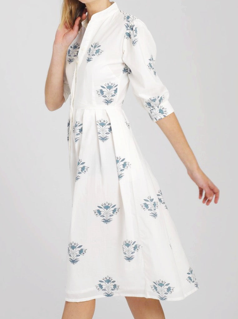 Isla Dress - Delft Flower (longer length)