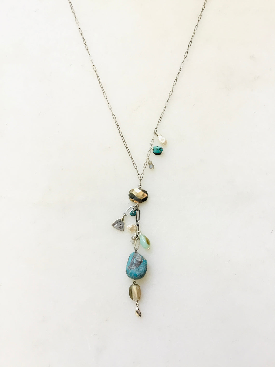Turquoise and Silver Charm Y Necklace