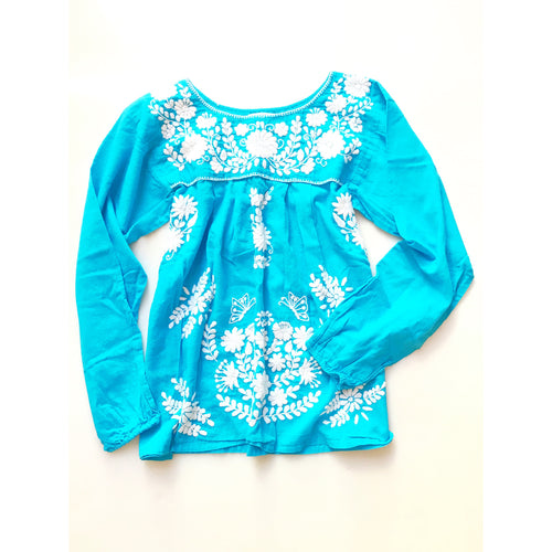 Oaxaca - Long Sleeve (Turquoise with White)