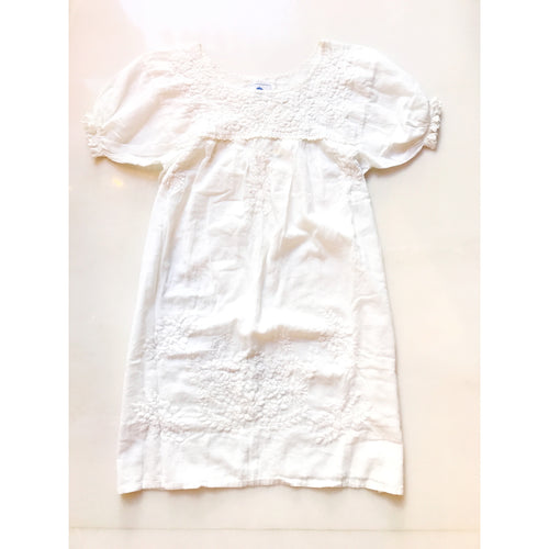 Oaxaca Dress - Gathered Sleeve (White with White)