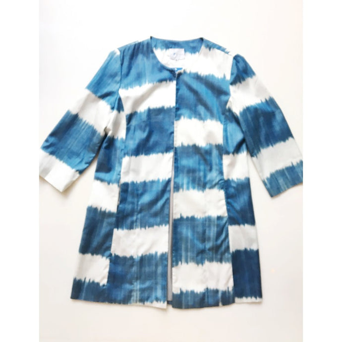 Silk Ikat Coat - Lapis/White