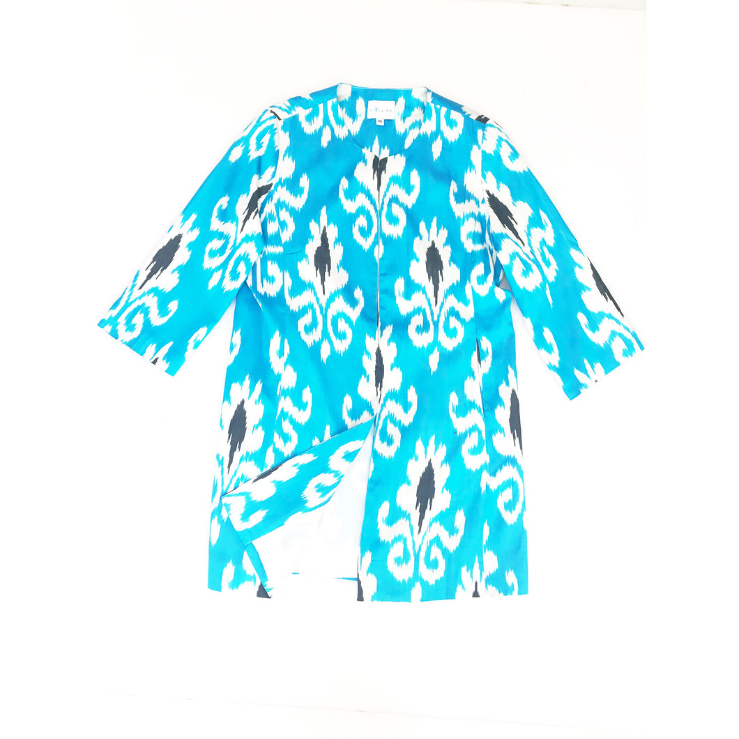 Silk Ikat Coat - Arctic Blue/Black