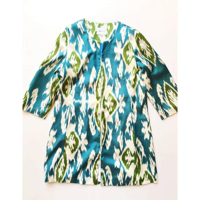 Silk Ikat Coat - China Blue & Green