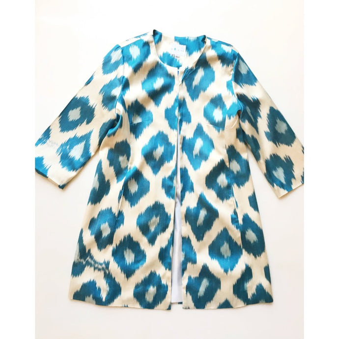 Silk Ikat Coat - China Blue & Sky