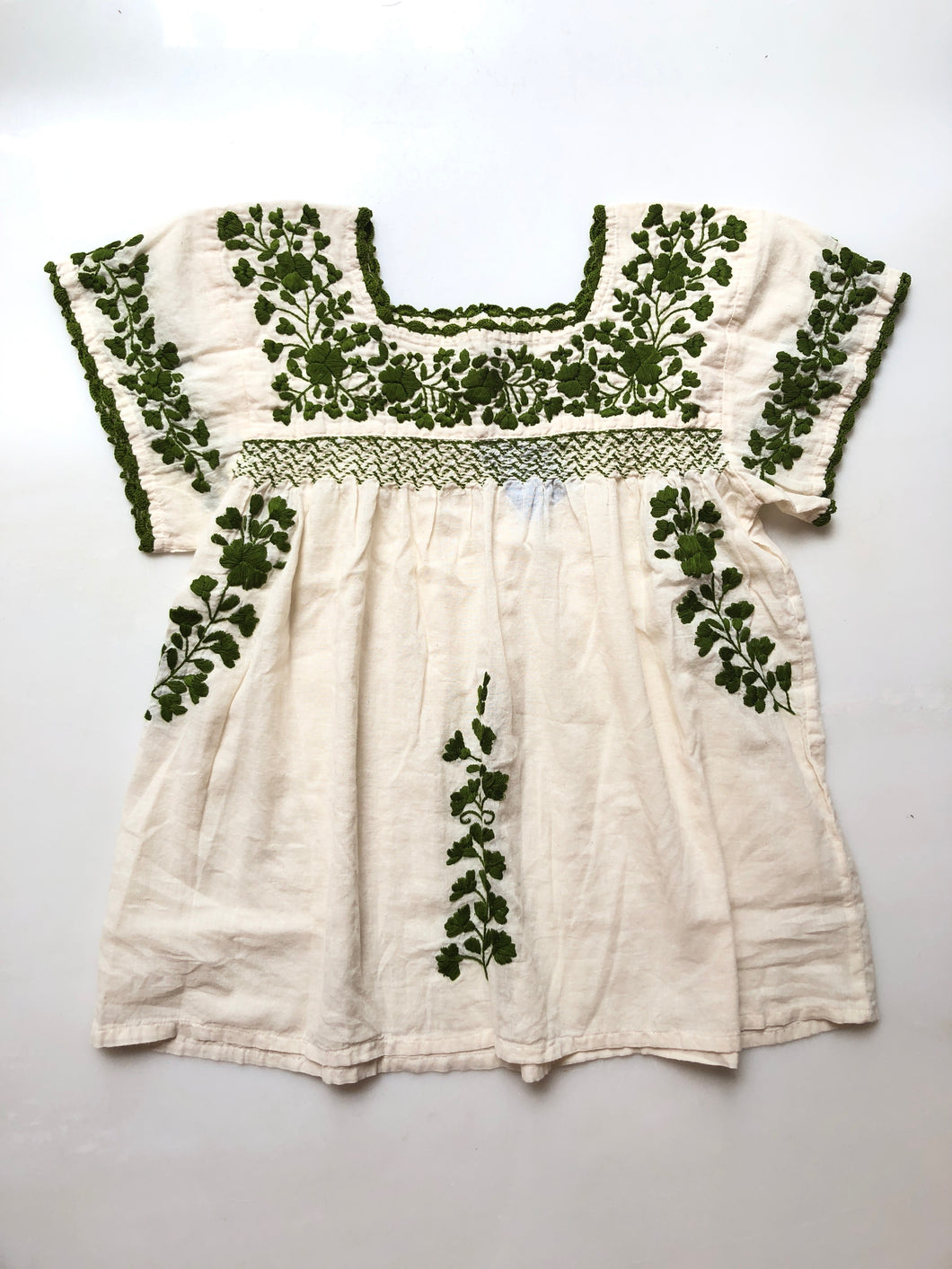 Oaxaca - Cap Sleeve (Ivory with Olive)