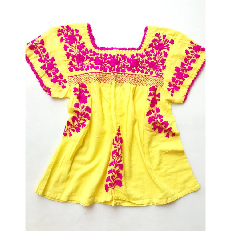 Oaxaca - Cap Sleeve (yellow with pink)