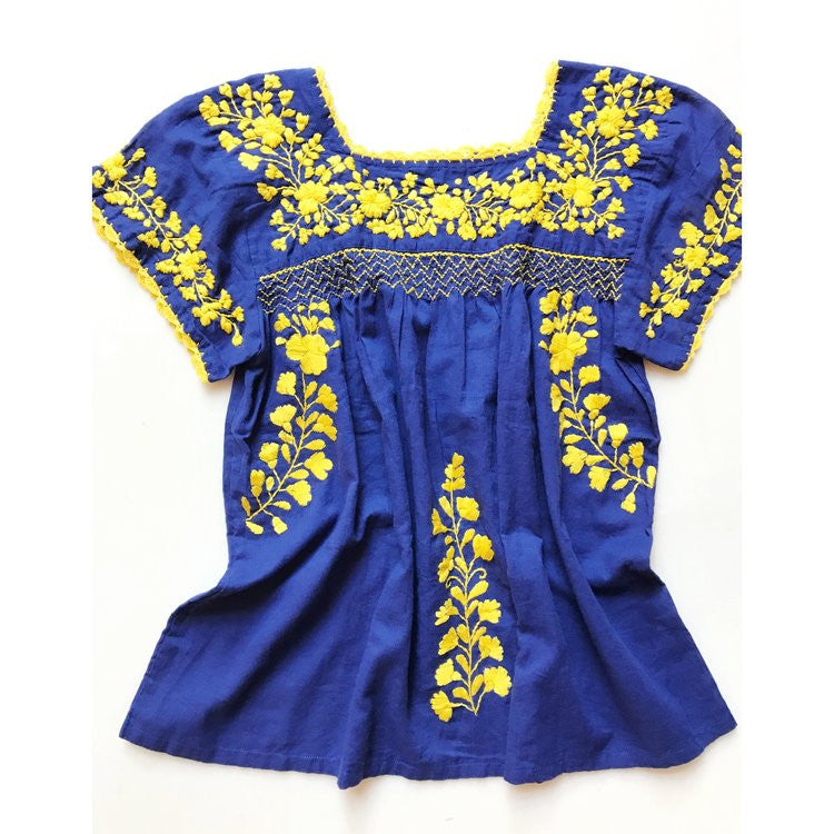 Oaxaca - Cap Sleeve (Blue with Yellow)
