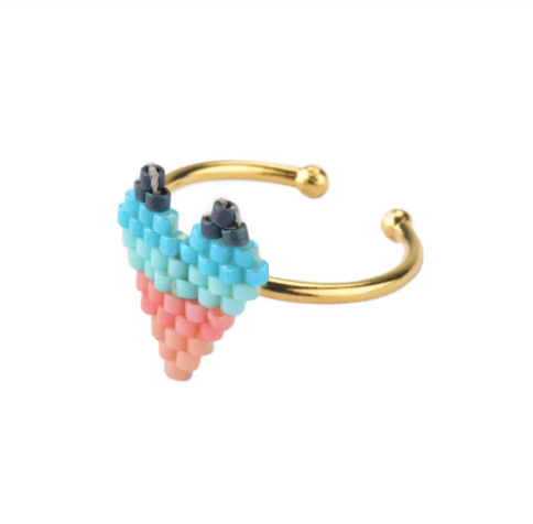 Heart Ring - Turquoise pink