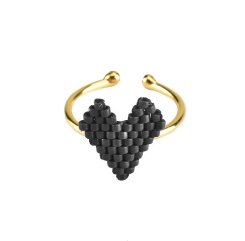 Heart Ring - Gold Black