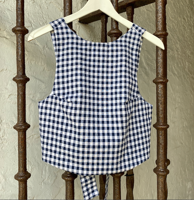 Pearl Top - Navy Gingham