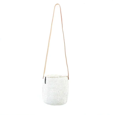 White Small Bucket Bag Long Handle