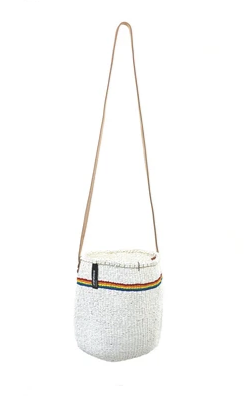 Rainbow Striped White Small Bucket Bag Long Handle