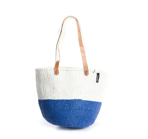 White and Blue 50/50 Shoulder Bag - Medium