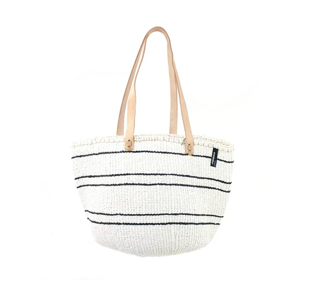 White and Black Stripes Shoulder Bag - Medium