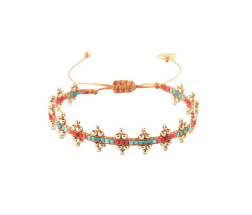 SHANTY BRACELET - Turquoise and Coral