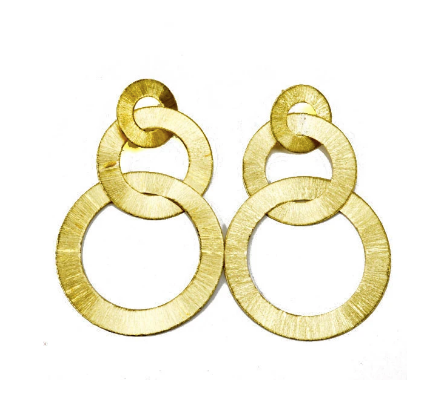 Tri-Circle Brushed Earring