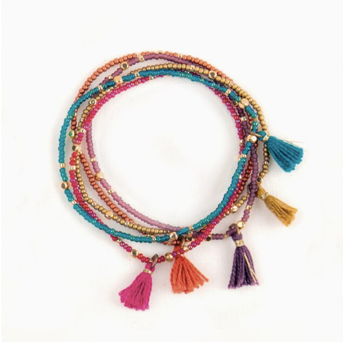 Tassel Bracelet Set of Five - Moroccan Multi