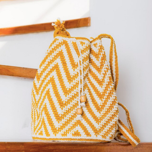 Natural Aguacatan Crocheted Bag - Yellow