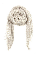 White Leopard Print  Cashmere And Silk Scarf