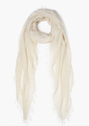 Lambs Wool Scattered Sequins Cashmere And Silk Scarf