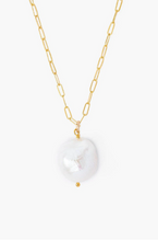 White Baroque Pearl And Gold Midi Necklace