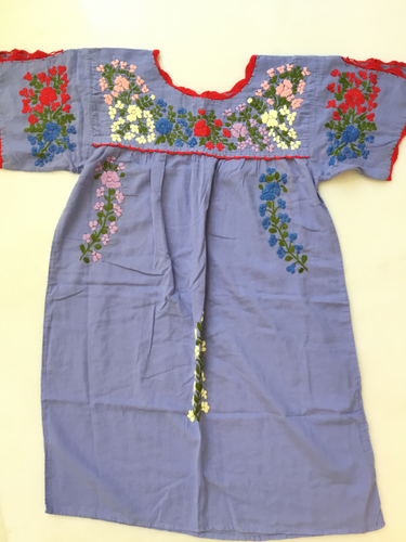 Oaxaca Dress - Split Sleeve ( Blue with multi/ Red border)