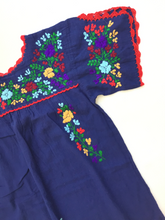 Oaxaca Dress - Split Sleeve (Navy with Multi)