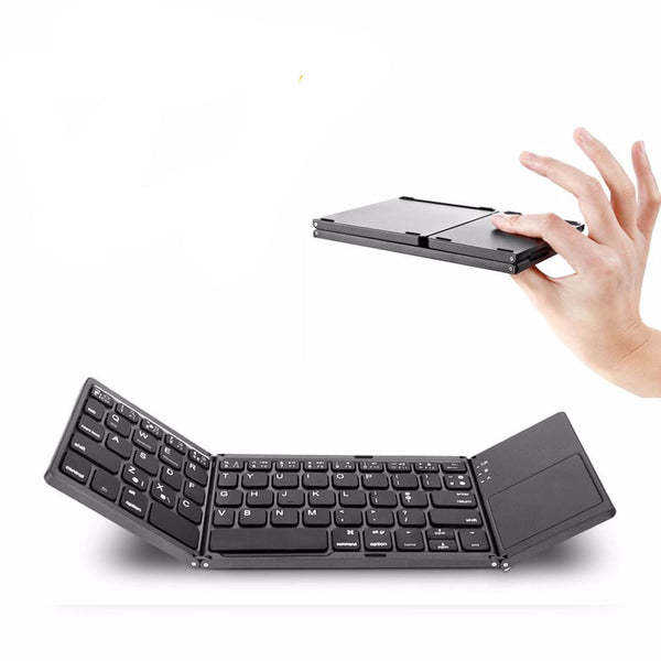 Aluminum Protable Bluetooth Folding Keyboard with Touchpad  IOS/Android/Windows