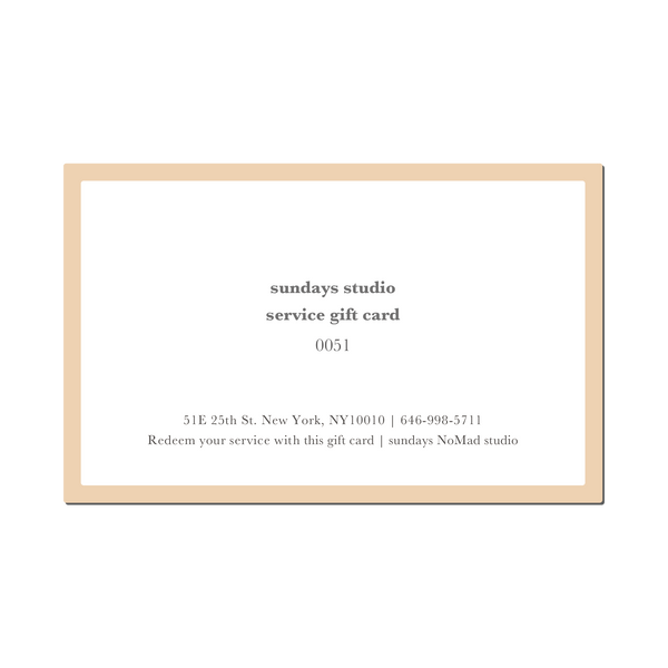 Service Gift Card $75 (only for studio services)