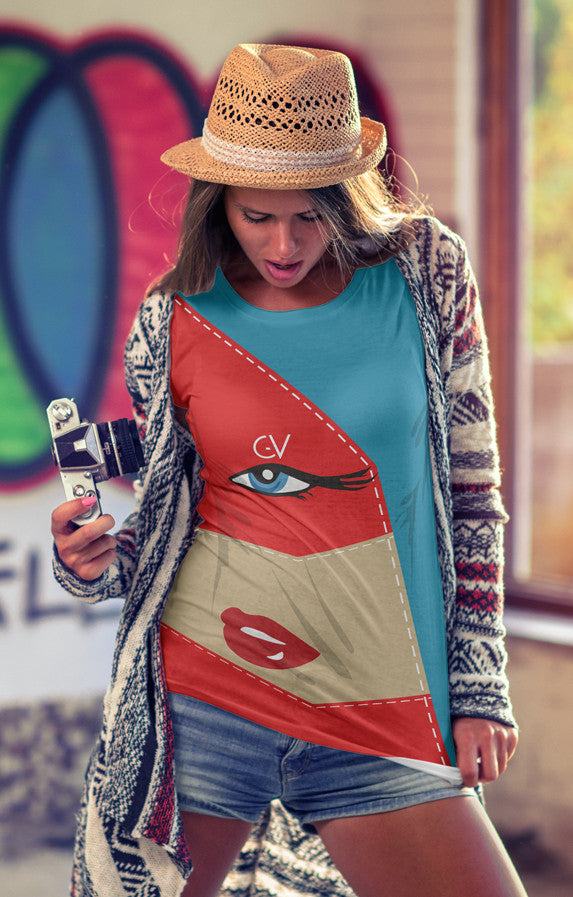 Orange & Blue - Red Lips Sublimation women's crew neck t-shirt