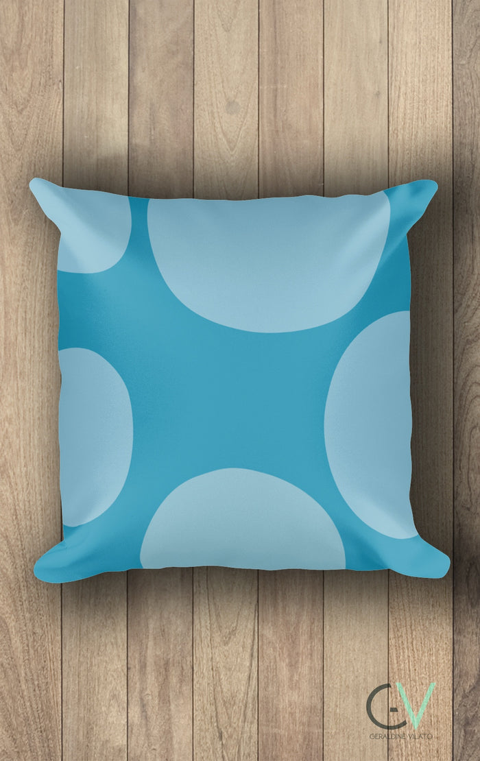 GV Cold Shoulder Blue Circles Square Pillow