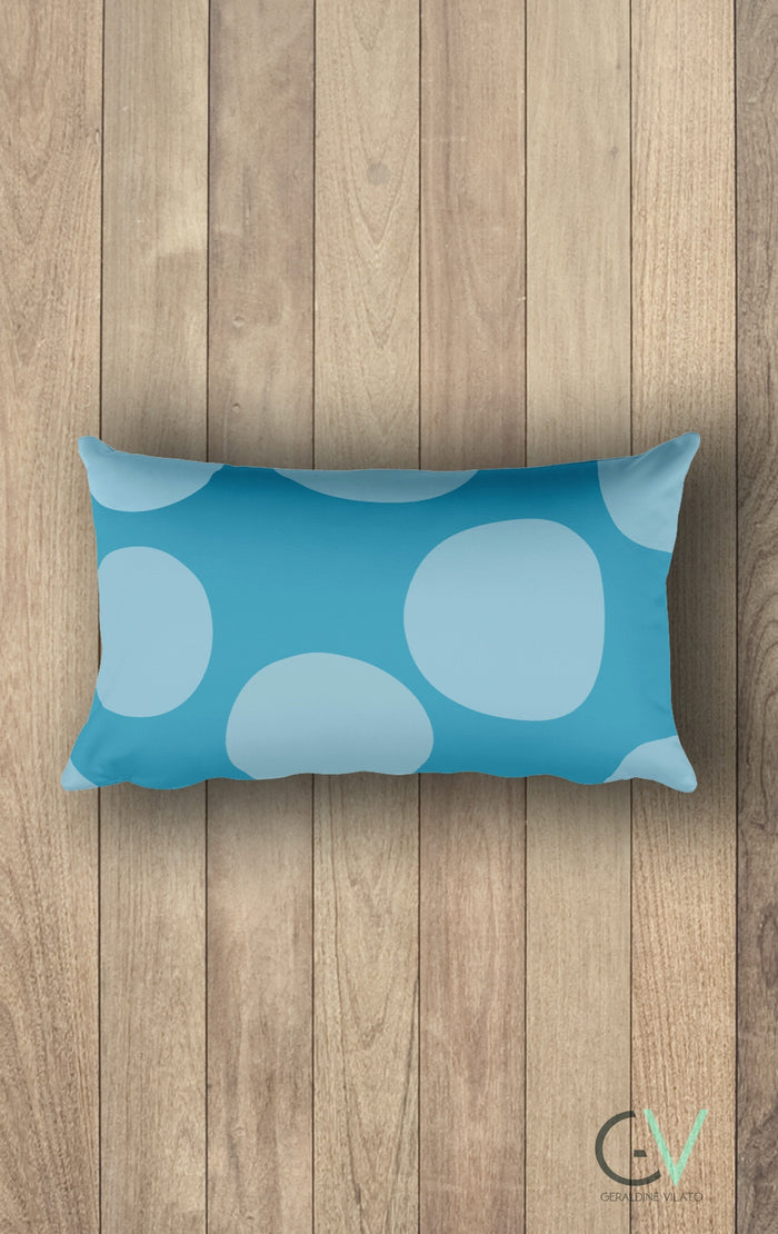 GV Cold Shoulder Blue Circles Rectangular Pillow