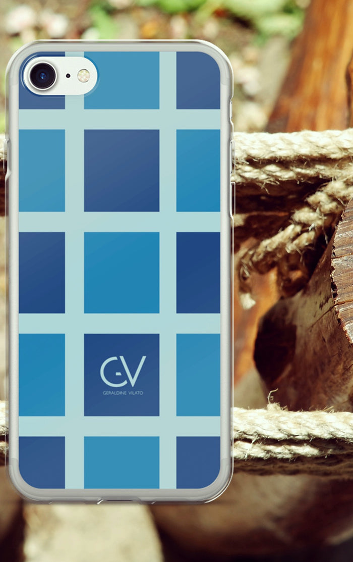 GV Thoughful Blue Square Pattern iPhone 7/7 Plus Case