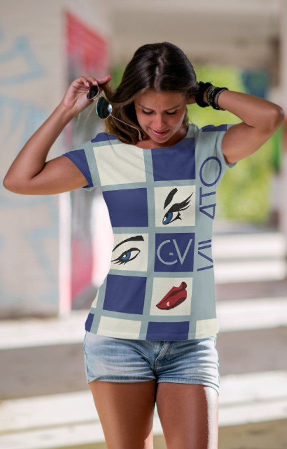 Blue and white square Sublimation women's crew neck t-shirt