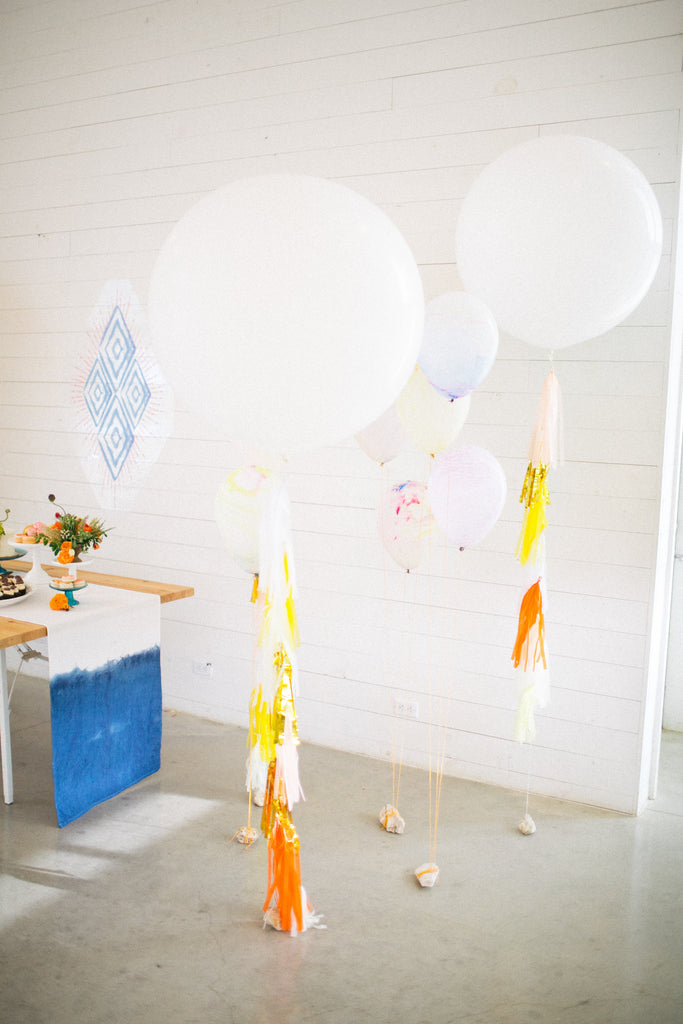colorful tassel balloons, prospect house wedding