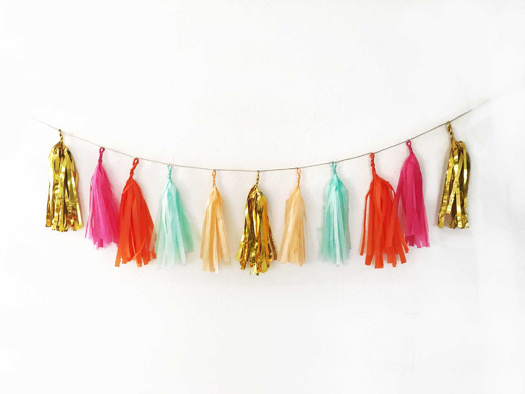 bachelorette decor, tropical tassel garland