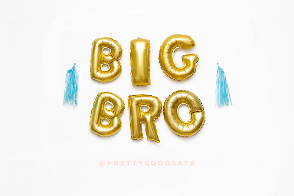 BIG BRO Gold letter balloon banner KIT