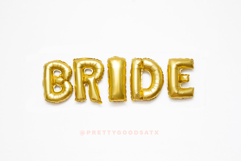 Bachelorette decor BRIDE Gold letter balloons