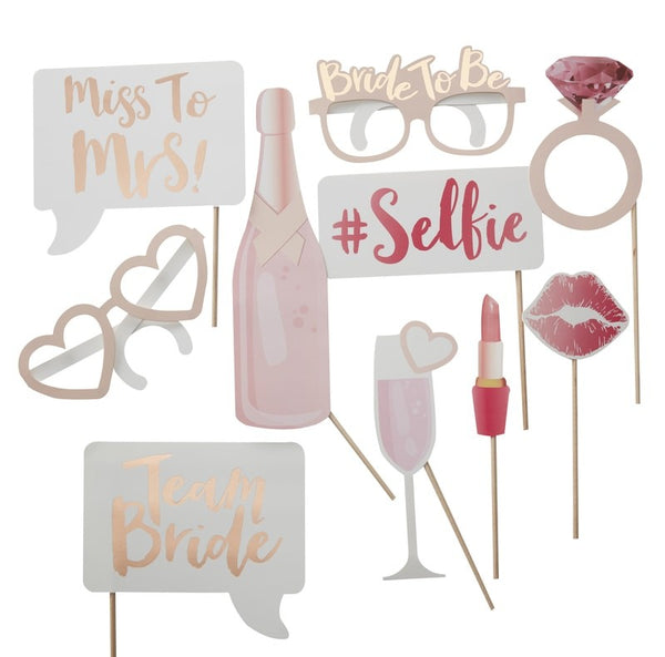 bride to be photo booth props team bride