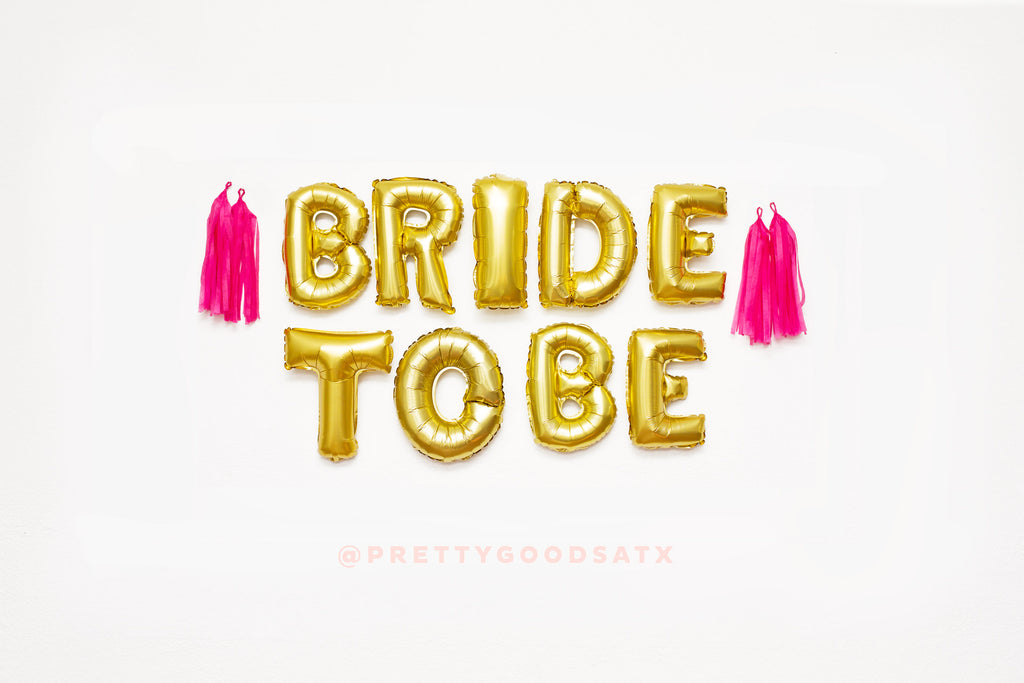 BRIDE TO BE Gold letter balloons