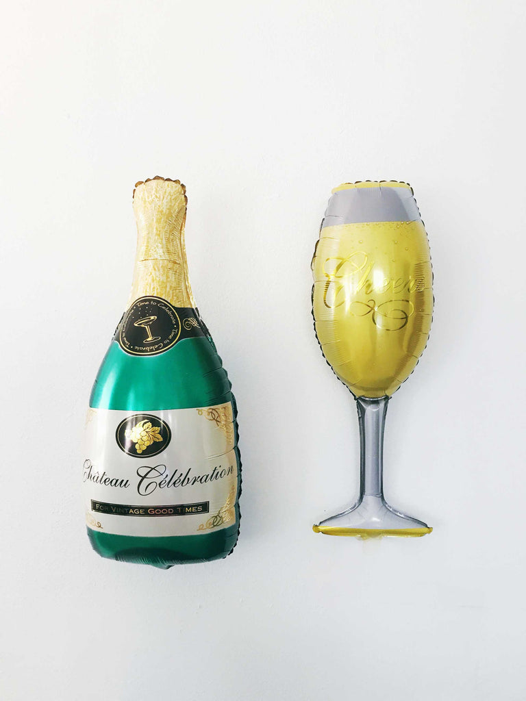 "36""  Champagne Bottle + glass Mylar Balloons"