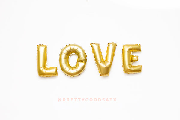 LOVE gold letter balloon banner