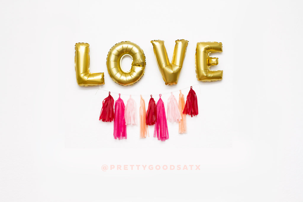 LOVE balloon kit - Love Gold letter balloons + tassel garland