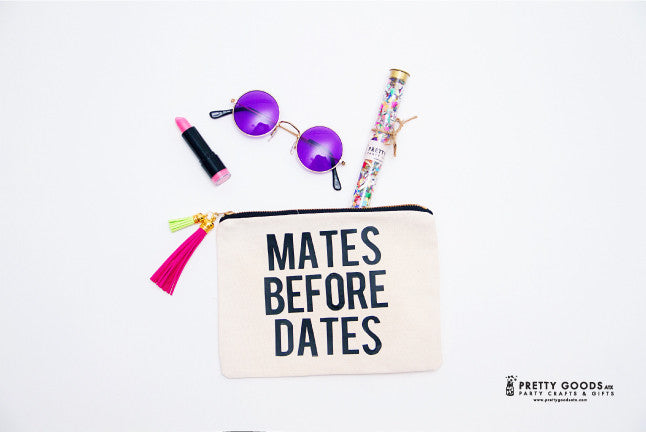 bachelorette makeup bag and leather tassel - Mates before dates